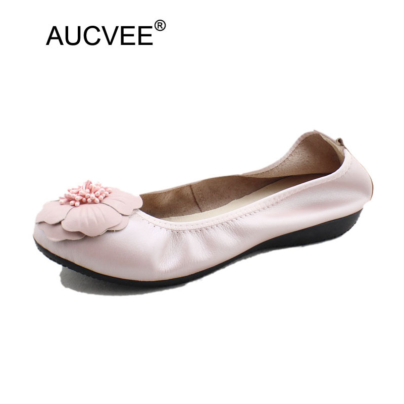 Spring 2018 Fashion Shallow Mouth Shoes Woman Super Soft Genuine Leather Flower Flats Slip On Pregnant Women Shoes Plus Size 43 2017 new genuine leather mother shoes soft bottom shallow mouth flats large size casual elderly shoes spring autumn women shoes