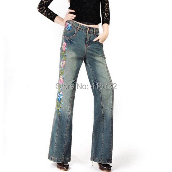Free Shipping 2017 New Fashion Long Pants For Women Embroidery Flower Trousers Plus Size Denim Wide Leg Jeans Female Chinese us au standard 2 gang 1 way glass panel smart touch light wall switch remote controller white black gold