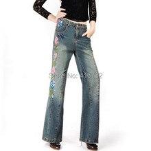 Бесплатная Доставка 2017 Новая Мода Длинные Брюки Для Женщин Вышивки Цветочные Брюки Плюс Размер Джинсовые Широкую Ногу Джинсы Женские Китайский