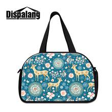 Dispalang large women's luggage travel bags cartoon animal drawing female duffle bag with independ shoes compartment weekend bag