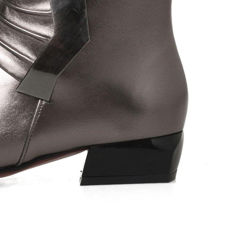 Dedo Del Tacones Color red Puntiagudo Rojo Pie Egonery Botas Caminando Tacón Calzado Zapatos Black Mujeres Fuera gray Invierno Arma De Negro Mujer Bajo Señora AUAfqXYn