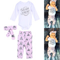 Autumn New Baby Girl Clothing Set Baby Girls Long Sleeve Tops Romper +Long Pants+Headband 3pcs Newborn Baby Girl Clothes Set