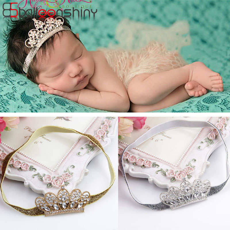 Balleenshiny Pearl Crystal Crown Children's Headband Baby Girls Princess Hair Accessories Newborn Photography Props Headwear