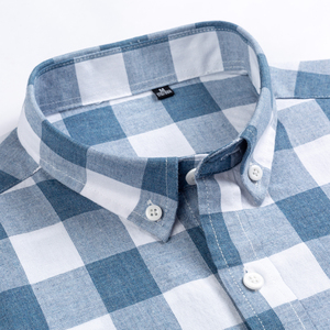 Image 3 - England Style Plaid Checkered Cotton Shirts Single Patch Pocket Long Sleeve Standard fit Button down Mens Casual Striped Shirt