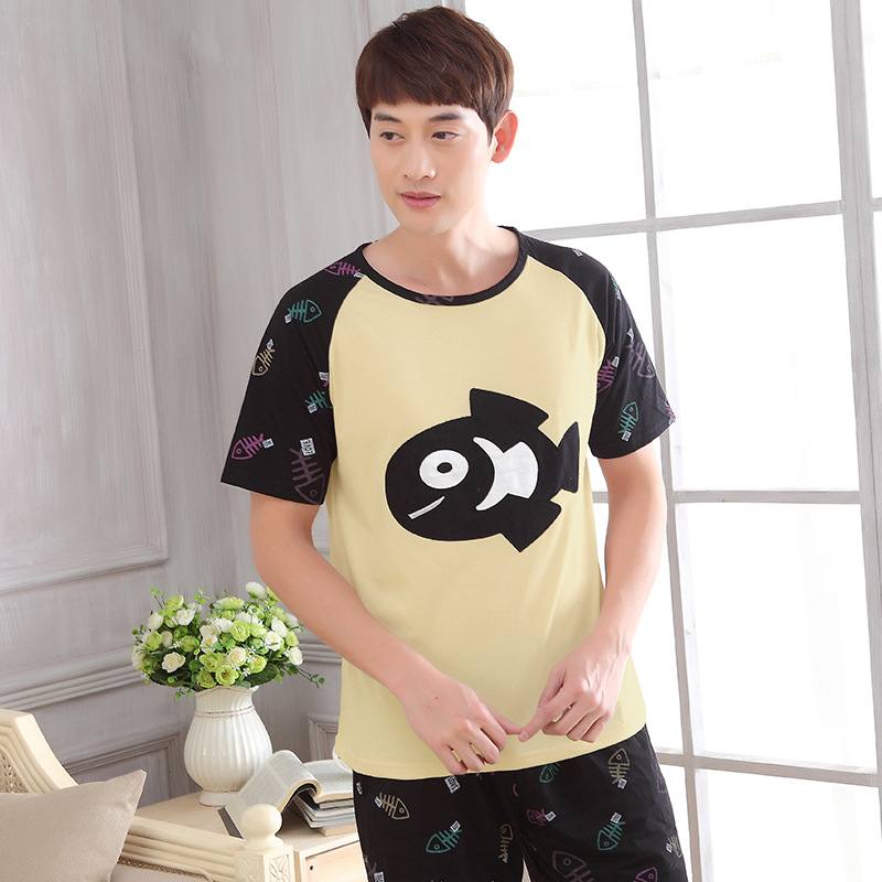 Men new cute cartoon cotton thin men's youth pajamas 2019 summer leisure home two piece pajama sets pajama men men pajamas(China)