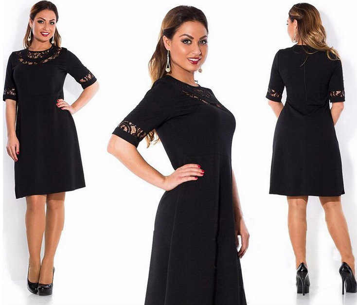ca5f4963f2063 2019 fashion summer dresses new spring and summer in Europe short sleeve  lace plus size 6XL sexy big fat MM women's dress 6962