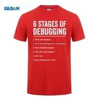 Возьмите 100% хлопок o-образным вырезом Пользовательские печатных футболка 6 этапов отладки ошибки кодирования программист футболка