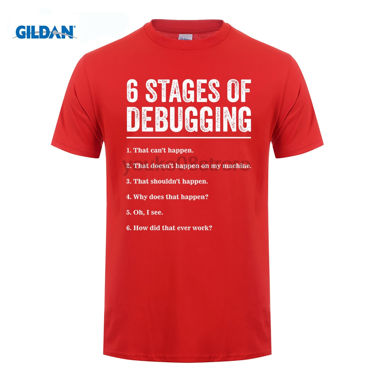 GILDAN 100% cotton o-neck custom printed T shirt 6 Stages of Debugging Bug Coding Comput ...