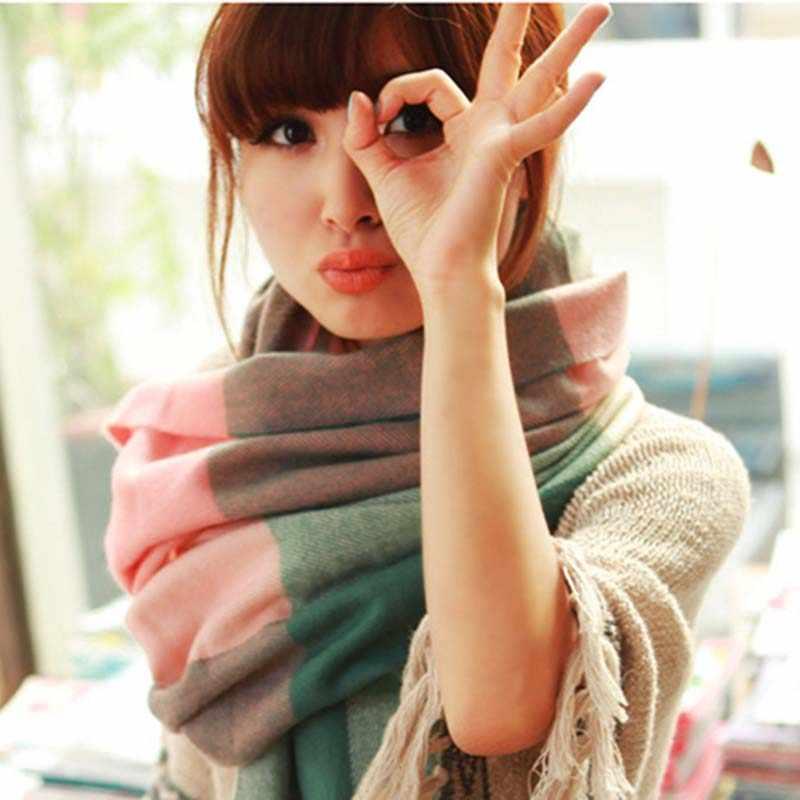RUINPOP New Women's Winter Scarf Knit Plaid Scarves Long Shawl Warm Female Scarves Ladies Fashion Scarf Soft Wrap 162*48cm
