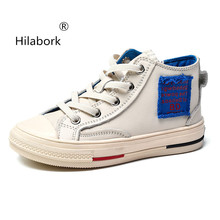 Hilabork Boys leather sneakers 2018 spring and autumn new travel girls wild  students high-top 92ee09bcdf00