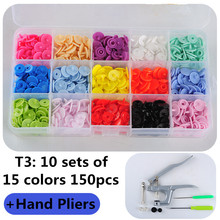 1Set Metal Press Pliers Tools Used for T3 T5 T8 Kam Button Fastener Snap Pliers+150 Set T3 Plastic Resin Press Stud Cloth Diaper 1set mold 100 sets plastic resin press stud cloth diaper button fastener snap mold for buttons t3 t5 t8 clothes buttons