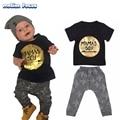 Moda de verano Recién Nacido Kids Baby Boy Letras Impresas Manga Corta Camiseta + Pantalones Trajes 2 Unids Niños del Algodón Que Arropan el sistema