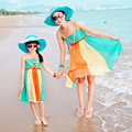 Mãe e Filha Combinando Vestidos 2017 Chegada Nova Alta Qualidade-Cintura Alta Suspensórios Bohemian Vestido Cor de Doces