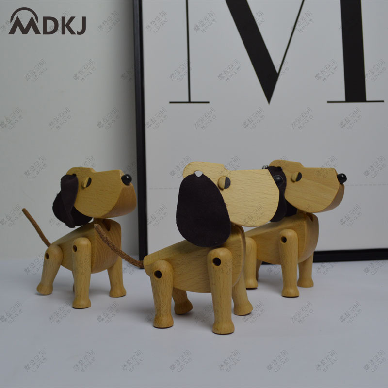 Home Deecor Figurines Doggy Puppet Animal Solid Beech wooden Puppy Puppet Lovely Dog Ornament natual with wax oil free shipping in Figurines Miniatures from Home Garden