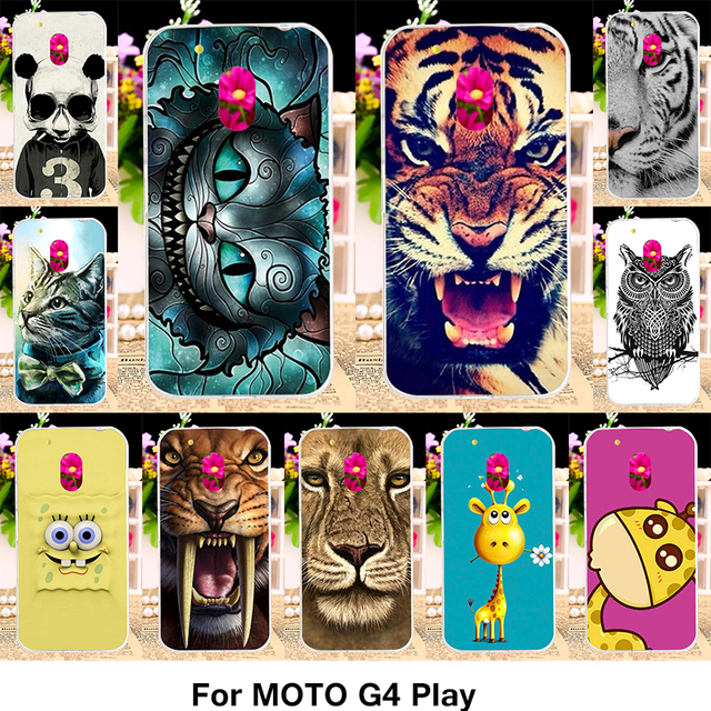 TAOYUNXI Silicone  Case For Motorola Moto G4 Play XT1600 XT1601 XT1603 XT1607 XT1609 5.0 Inch Case TPU Plastic Animal Cover Skin