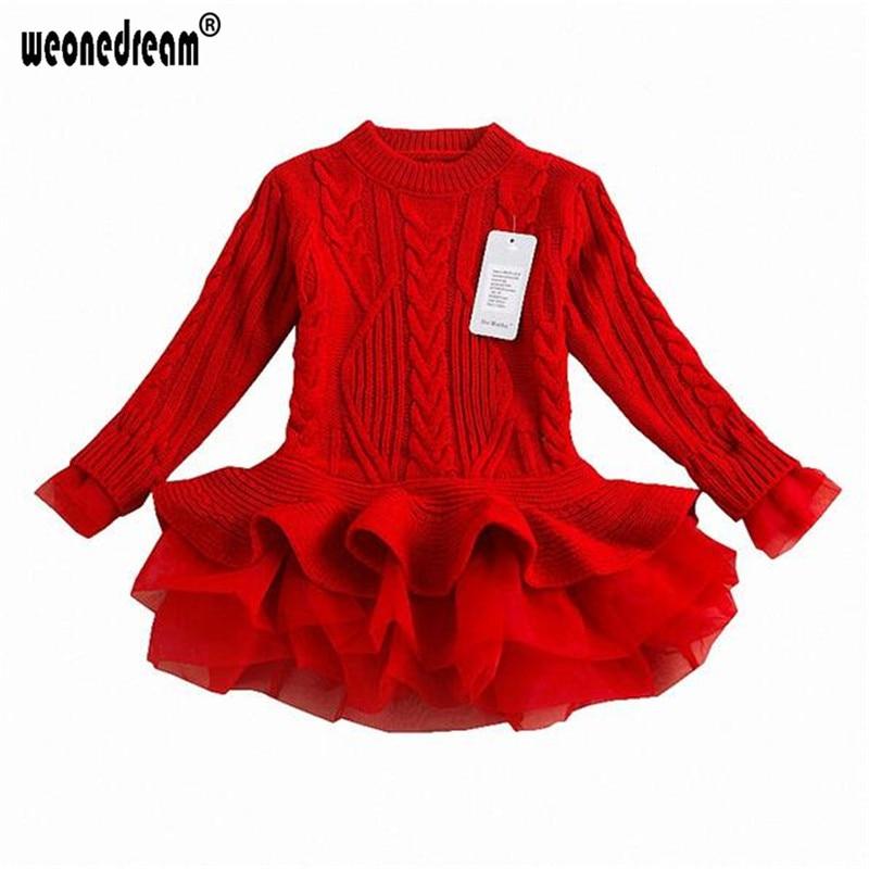 8395f677f39f2 WEONEDREAM 2018 Girls Autumn Sweater Dress Winter Warm Long Sleeve  Christmas Tutu Kids Dresses For Girls Princess Clothing