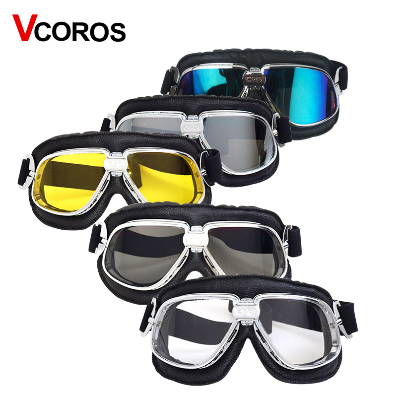 Vcoros leather Pilot motorcycle helmet goggles harley vintage scooter moto helmet goggles Windproof retro protective gear