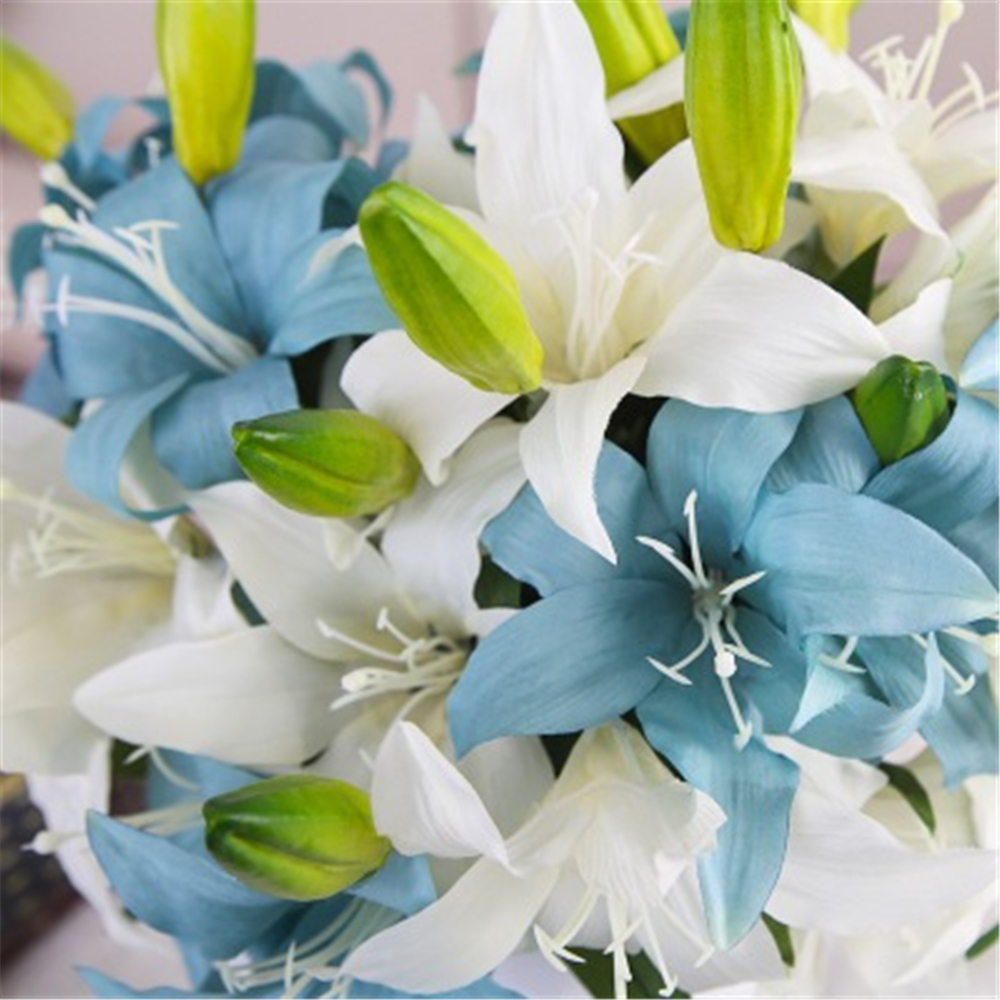 1pc Lily Flowers Artificial Real Touch Silk Bride Bouquet Flower