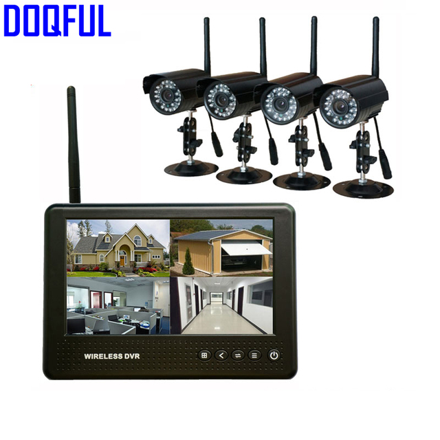 Digital Wireless 7 Lcd Monitor Dvr Security System Cctv Cameras Sd Card Recording Waterproof Camera Home