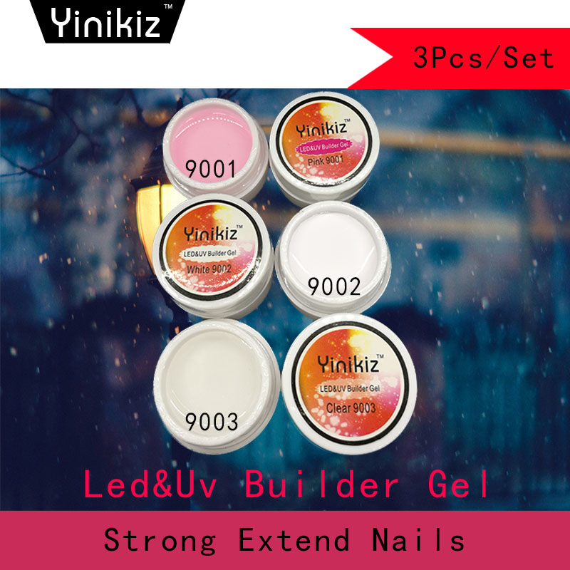 Yinikiz 3PCS/Set Pink White Clear UV Builder Gel Crystal Nails for ...