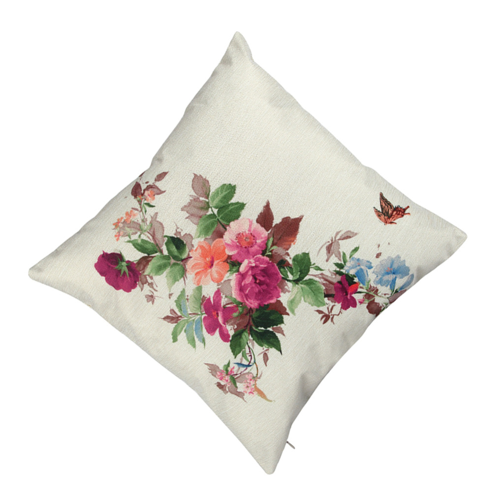 New Customized Linen Pillow Cover Printed 2018 Spring Flowers
