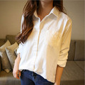 Women Linen White Shirts BF Style Female Loose Casual Cotton Shirts Brand New Autumn 2016 Sexy Women Big Size Camisa XXL SL0674