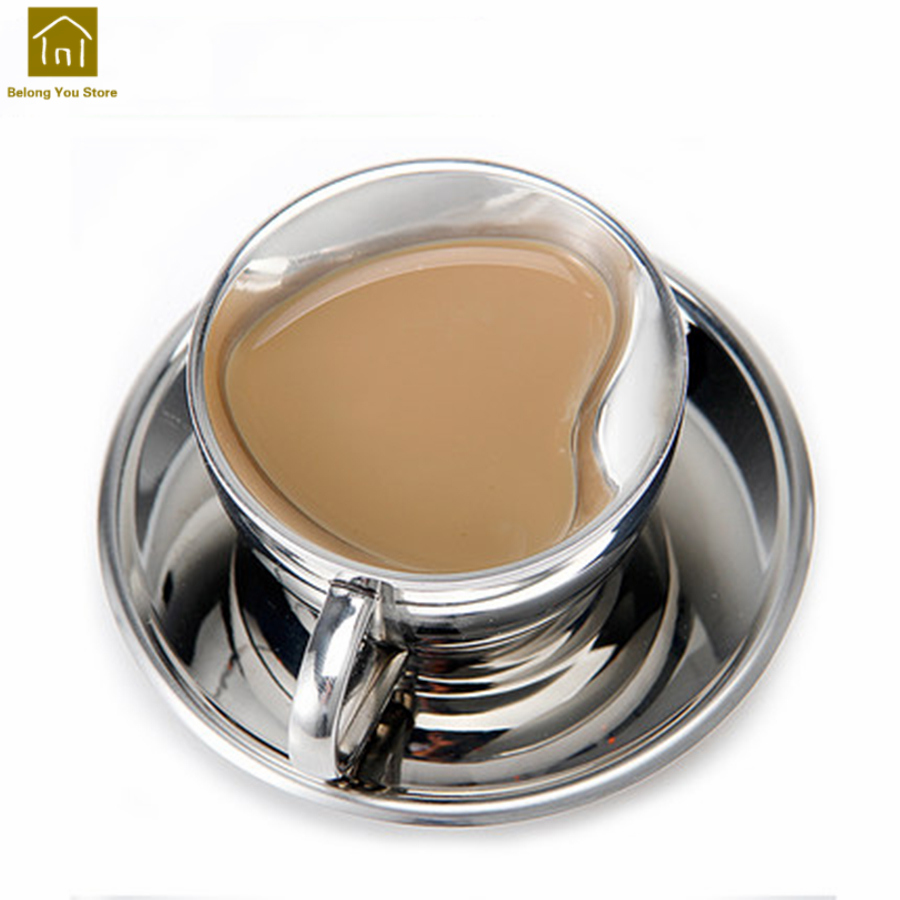 Acier inoxydable en forme de coeur thé Cappuccino tasse soucoupe européenne élégant café Fourniture Bureau britannique mignon cadeaux WKD062