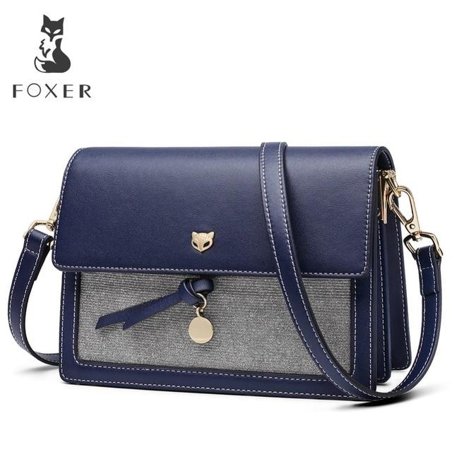 FOXER Brand Women Leather Crossbody bag Small Flap Elegant Shoulder Bag New Fashion Female Messenger Bags Girl's Bags
