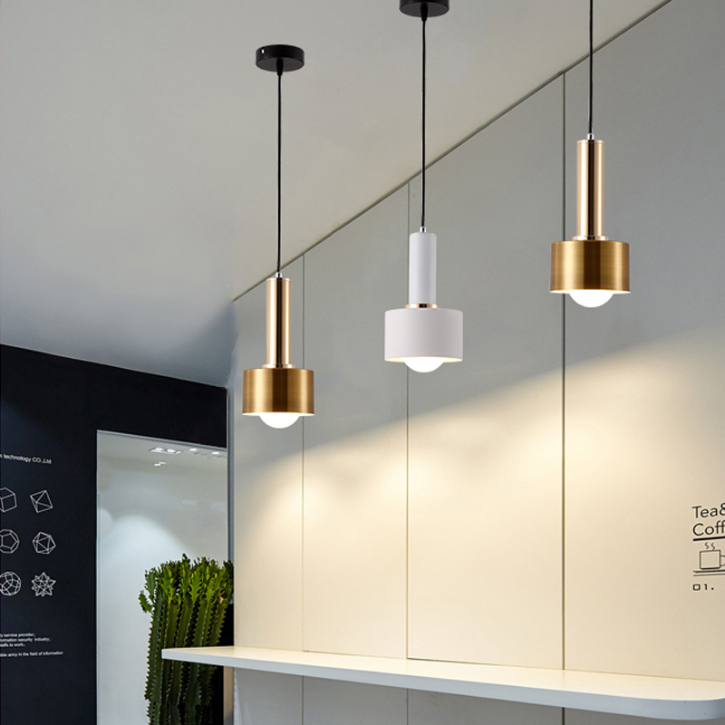 Luces colgantes doradas de moda E27 G80 220V bombilla nórdica lámpara para colgar moderna sala de estar cafetería dormitorio Lámpara colgante de restaurante|Luces colgantes| |  -