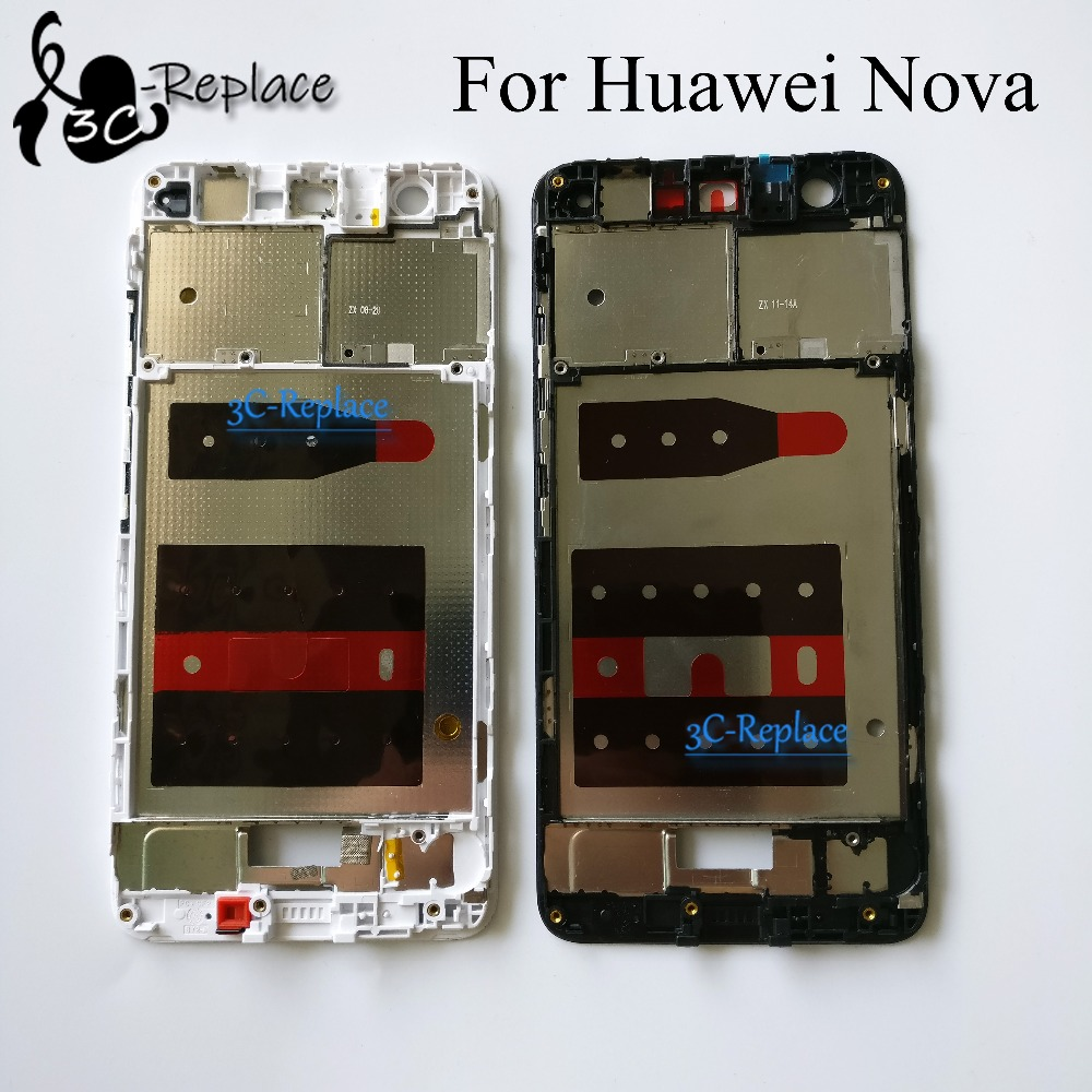 Black/White 5.0 Inch For Huawei Nova Front Housing Chassis Plate LCD Display Bezel Faceplate Frame ( No LCD )