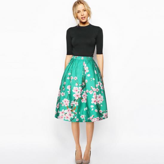 2017 Summer Women Vintage Retro Satin Floral Pleated Skirts Style High Waist A-Line tutu Midi Skirt 23 styles