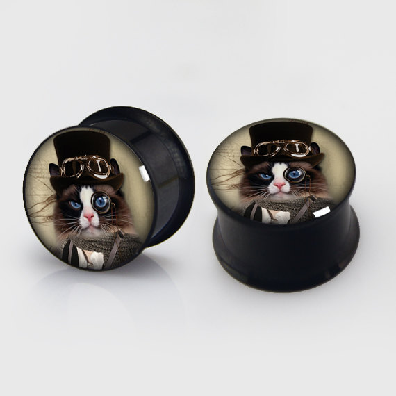 2 pieces steampunk cat plugs anodized black ear plug gauges steel flesh tunnel earlets body piercing jewelry 1 pair