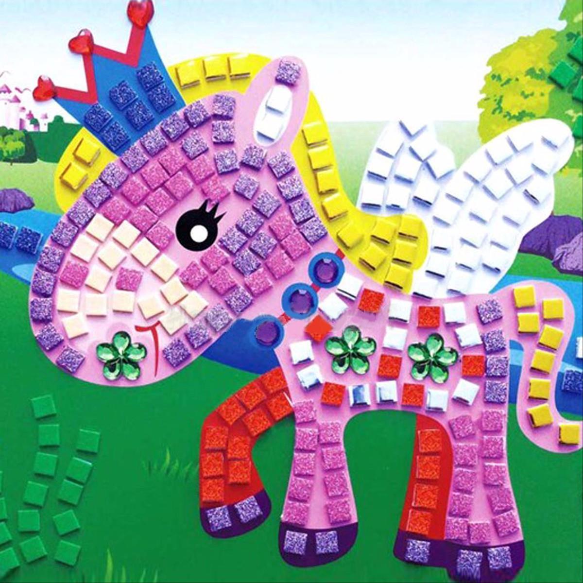 3d eva foam cartoon car mosaics art stickers painting children kids game multicolor puzzle diy handmade