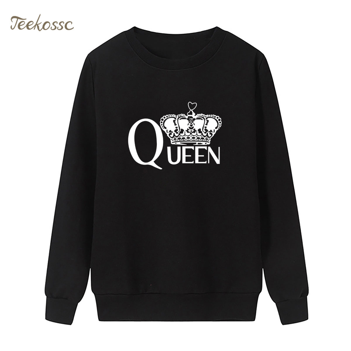 Queen Crown Sweatshirt Casual Print Hoodie 2018 New Fashion Winter Autumn Women Lasdies Pullover Loose Fleece Black Streetwear