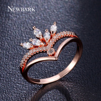 NEWBARK Gorgeous Crown Ring With 5pcs Marquise Cut Cubic Zirconia Diamond Women Party Queen Jewelry