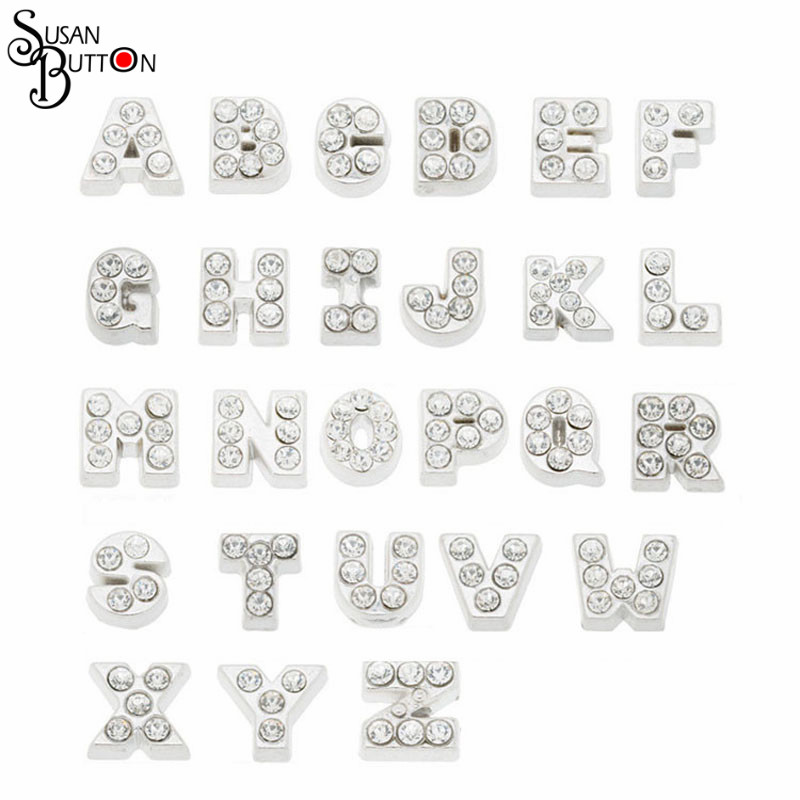 20pcs silver Crystal alphabet letter floating charms A Z