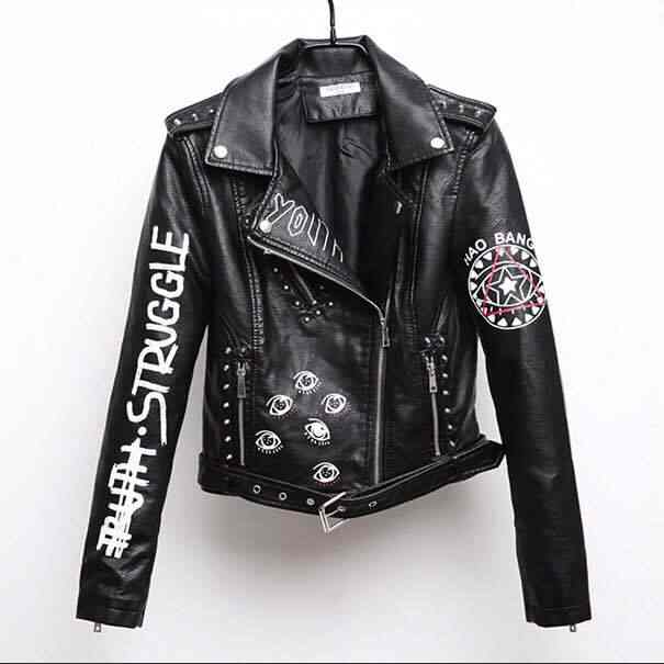 2018 Top Brand Women Faux Leather Jacket  Spring Autumn Pu S-XL Female Coat Hip Hop Clothing Ladies Print Motorcycle Outerwear