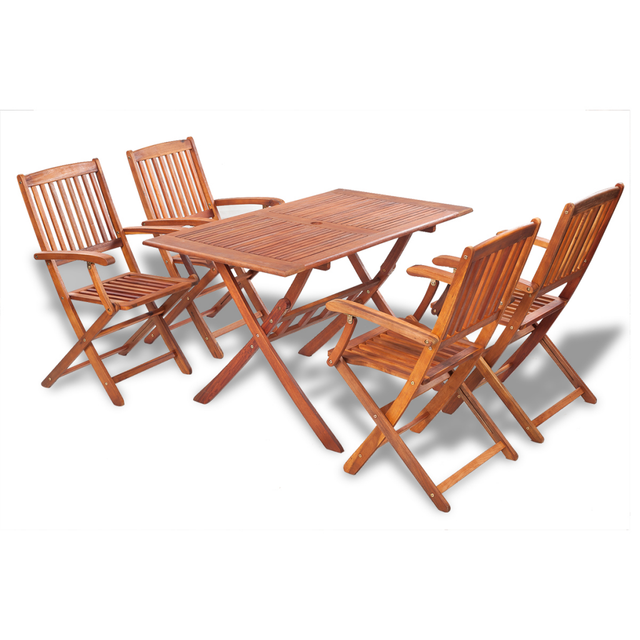 Ikayaa 5pcs Outdoor Dining Set Acacia Wood Table Folding Chairs Furniture