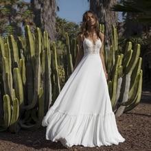 Verngo ספגטי רצועות חתונת שמלת Boho קלאסי צווארון V הכלה שמלת רצפת אורך חוף חתונה שמלת Abito דה Sposa