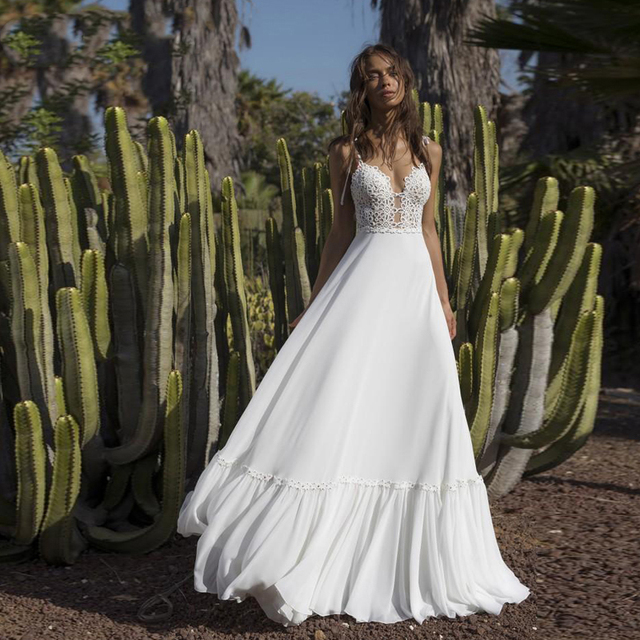 Verngo Spaghetti Straps Wedding Dress Boho Classic V Neck  Bride Dress Floor Length Beach Wedding Dress Abito Da Sposa