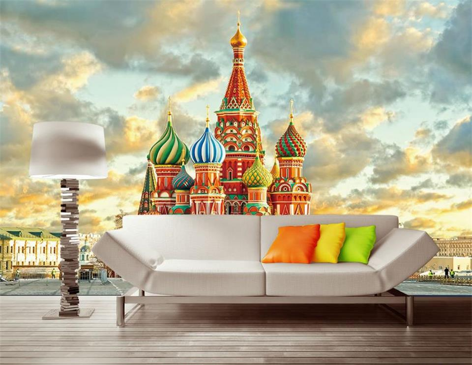 3d Wallpaper Photo Wallpaper Custom Living Room Mural Russia Moscow Castle Oil Painting Sofa TV Background Wallpaper For Wall 3d