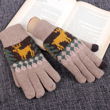 REALBYWinter Gloves Men Full Finger Hand Warmer Screen Gants Male Knit Wool Bicycle Thick Mittens luvas de inverno Christmas
