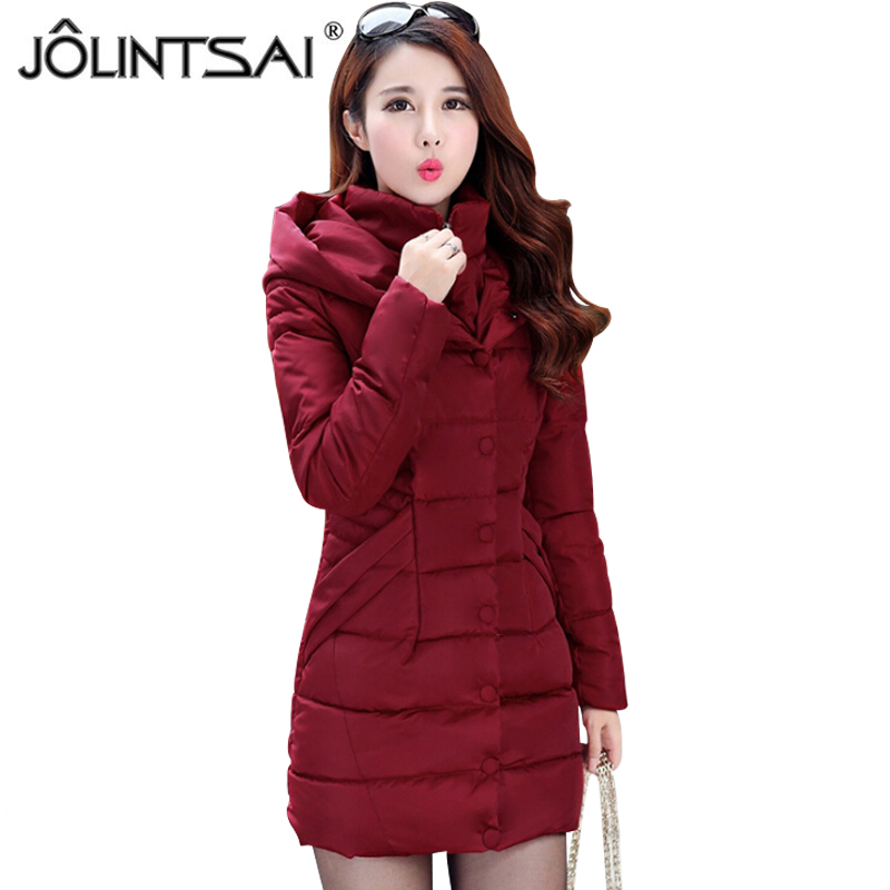 JOLINTSAI Winter Jacket Women Mid Long Hooded Parkas Mujer Thick Cotton Padded Coats Casual Slim Winter Coat Women jolintsai winter jacket women mid long hooded parkas mujer thick cotton padded coats casual slim winter coat women