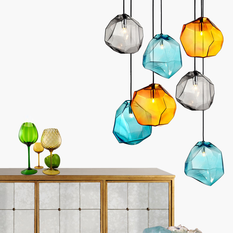 vintage Dining Room Glass Pendant Light Living Room Lighting Fixtures Bar Hanging lamps Modern Color Glass Pendant led Lights free shipping vintage industrial clear glass metal cage pendant lights lamps dining room ceiling fixtures lighting