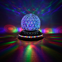 12W Golden Stage Lights LED Magic Crystal DJ Lamp Rotation Colorful Rotate Bar KTV Laser Projector