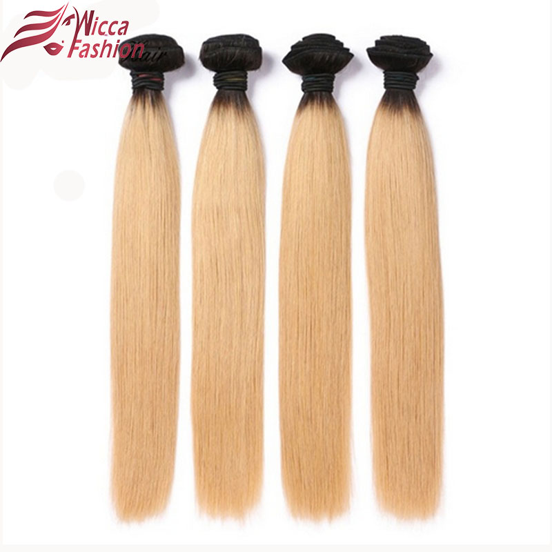 Dream Beauty Ombre Peruvian Hair Straight Hair Bundles 1 PC 1B/27 Brown Honey Blonde Non-Remy Human Hair Extensions 8-28 Inches