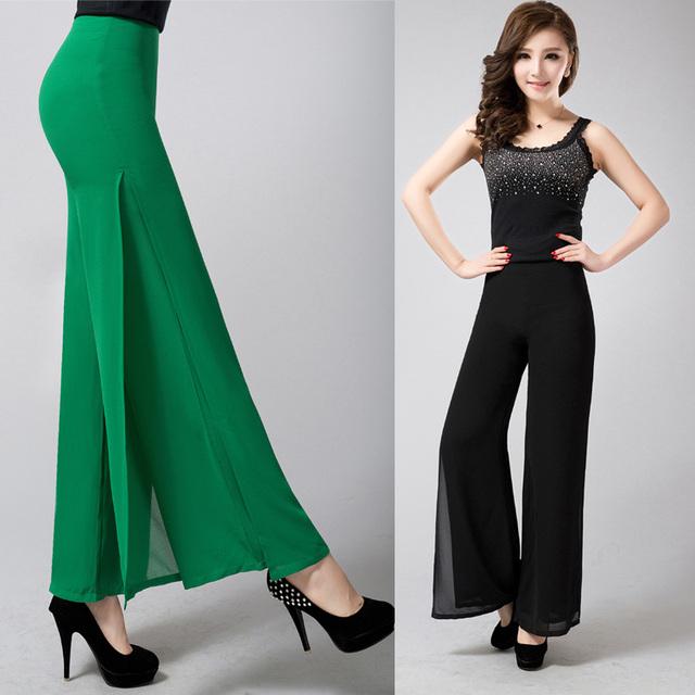 2016 nuevos pantalones flare pantalones anchos de la pierna de las mujeres más el tamaño de cintura alta ocasional de señora chiffon pantalones rectos pantalones largos negro, rosa, azul, rojo