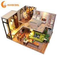 DIY Model Building Kits Cottage Innovative Romantic Nordic DIY Doll House Miniature With Furniture LED Light