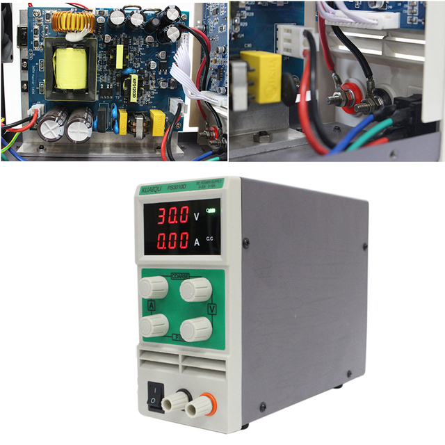 KUAIQU mini Adjustable DC Power Supply 30V 60V 120V 3A 5A 10A laboratory Digital Variable Voltage regulator 0-30V/0-10A PS3010D