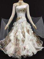 Стандартный Костюмы для бальных танцев платья для танцев Женская с длинным рукавом белого Цвет Танго вальс костюм Костюмы для бальных